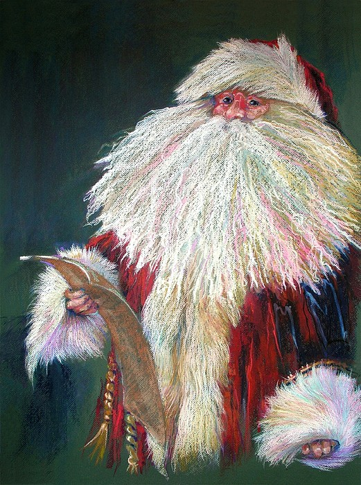 Santa Claus Painting - Santa Claus  Making A List And Checking It Twice by Shelley Schoenherr