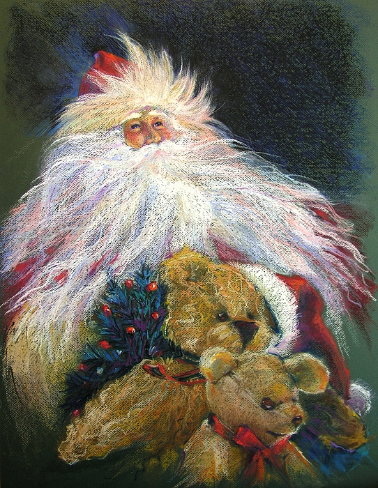 Santa Claus Painting - Santa Claus Riding Up Front With The Big Guy  by Shelley Schoenherr