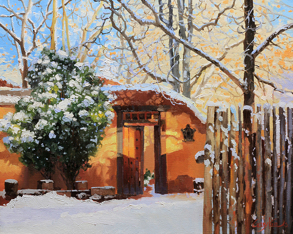 Santa Fe Adobe In Winter Snow Print by Gary Kim
