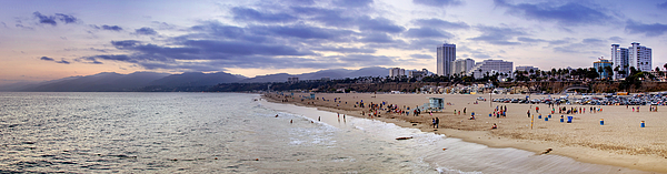 Santa Photograph - Santa Monica Sunset Panorama by Ricky Barnard