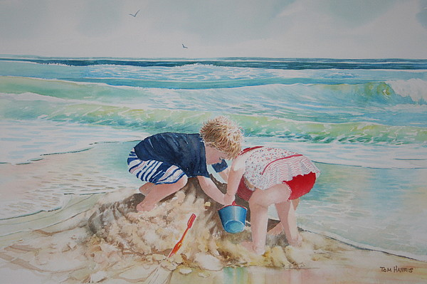 Beach Painting - Saving The Sand Castle From The Tide by Tom Harris