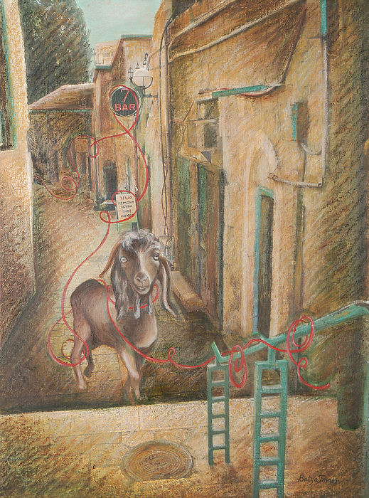 Goat Painting - Scapegoat At Ben Yehuda Street by Barbara Nesin