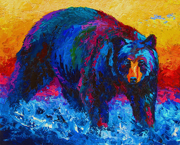 Western Painting - Scouting For Fish - Black Bear by Marion Rose