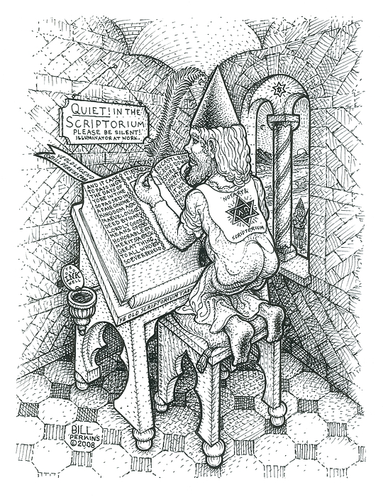 Scriptorium Cell Drawing - Scribe by Bill Perkins
