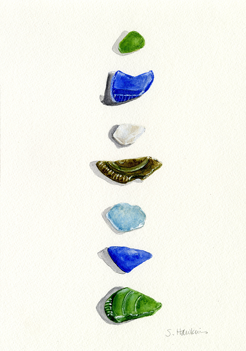 Sea Glass Painting - Sea Glass Watercolor by Sheryl Heatherly Hawkins