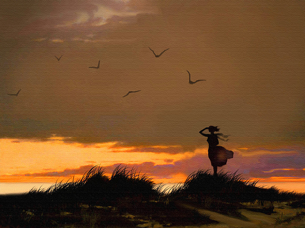 Lady Painting - Sea View by Robert Foster