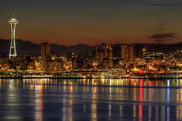 Horizontal Photograph - Seattle Downtown Skyline From Alki Beach Dawn by David Gn Photography