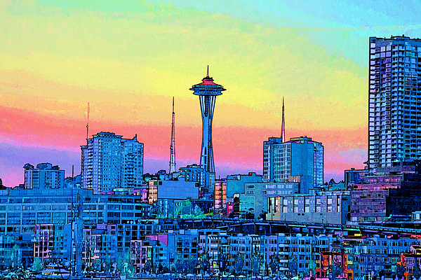 Seattle Space Needle Painting by RJ Aguilar