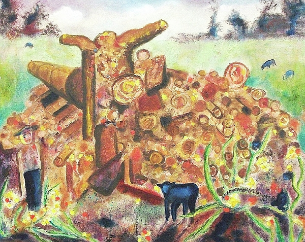 Image result for woodpile painting