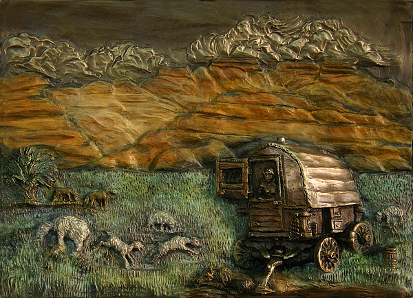 Miniature Relief - Sheep Herders Wagon From Snowy Range Life by Dawn Senior-Trask