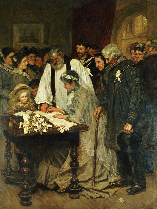 Signing Painting - Signing The Marriage Register by James Charles