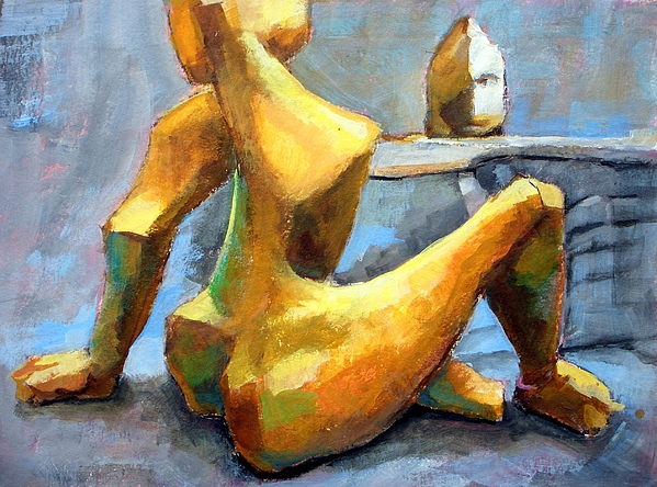 Sitting Nude. Woman. Sculpture. Pillhofer. Cubism. Abstract. Acrylic. Brass. Painting. Summer. Beach. Painting - Sitting Nude by Alfons Niex