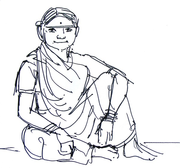 Human Sketches Drawing - Sketch Of A Labour Woman by Naveen Wagh
