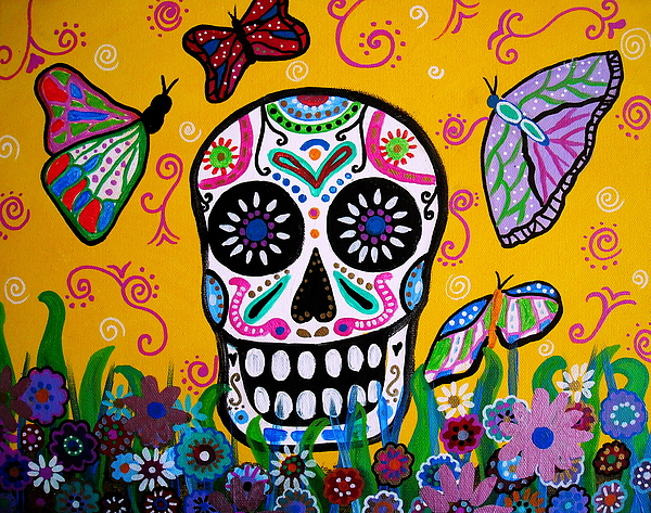 Dia Painting - Skull And Butterflies by Pristine Cartera Turkus