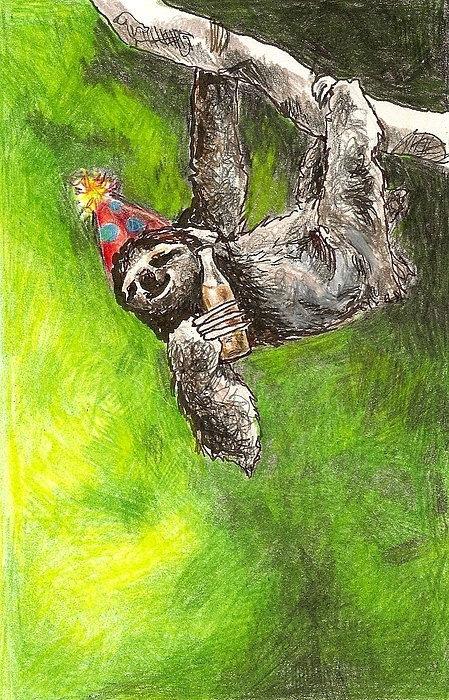Kristen Bell Drawing - Sloth Birthday Party by Steve Asbell