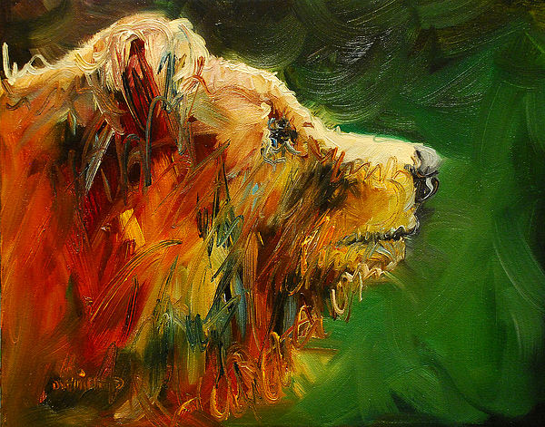 Bear Painting - Sniffing For Food Bear by Diane Whitehead
