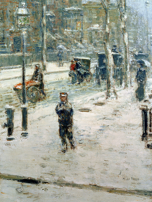 Snow Storm Painting - Snow Storm On Fifth Avenue by Childe Hassam