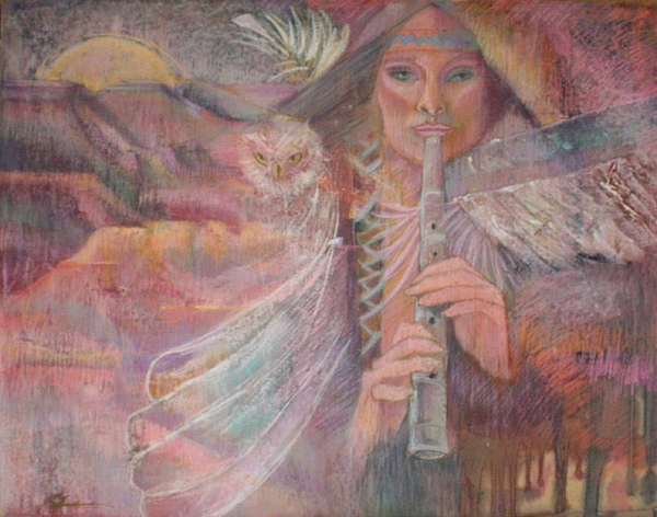 Shamaness With Totum Owl Plays The Sacred Sounds With Her Flute Plateaus Mountions Mooon Owl Feathers Fllute Trees American Indian Lore Impressionistic Symbolic  Southwest Colors Pinks Oranges Golds Aquas Red White  Pipe Sounds Owls Indian  Symbolic Figure The Sacred Dream Time Landscape Music  Beauiful Sounds And Color Indian  Pamela Pam Pamela Rose Pamela Mccabe Pastel Artist Pastel Paintings Like Degas Cassette Etc.  Southwest Art Shaman  Painting - Song Of Our Sacred Dreaming by Pamela Mccabe