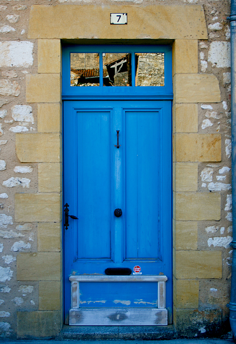 Rustic Photograph - South Of France Rustic Blue Door  by Georgia Fowler