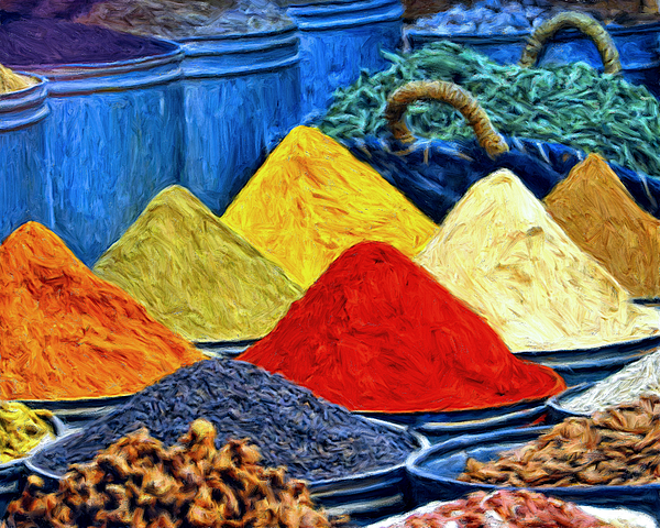 Spice Market In Casablanca Painting By Dominic Piperata