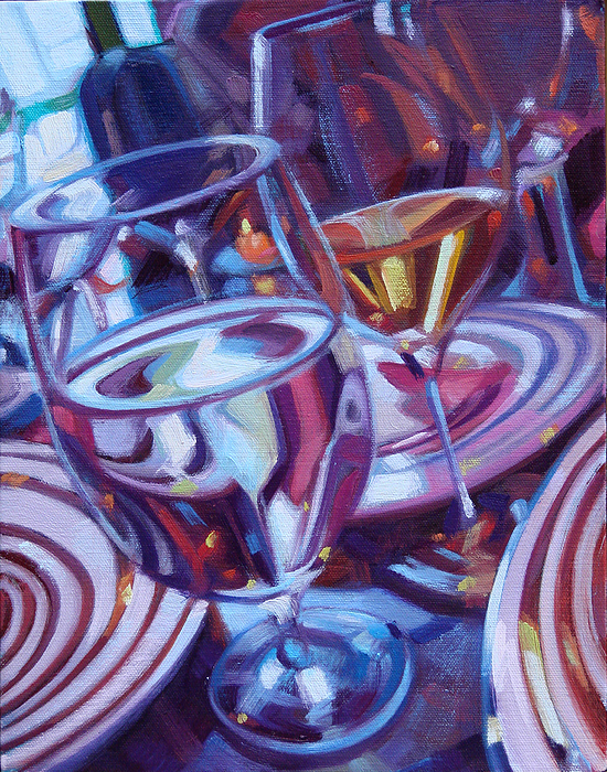Wine Painting Painting - Spinning Plates by Penelope Moore