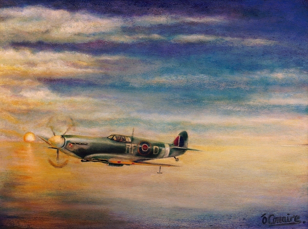 Spitfire Painting - Spitfire In Flight by Liam O Conaire