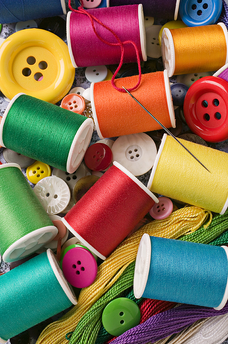 Spools Of Thread With Buttons Photograph