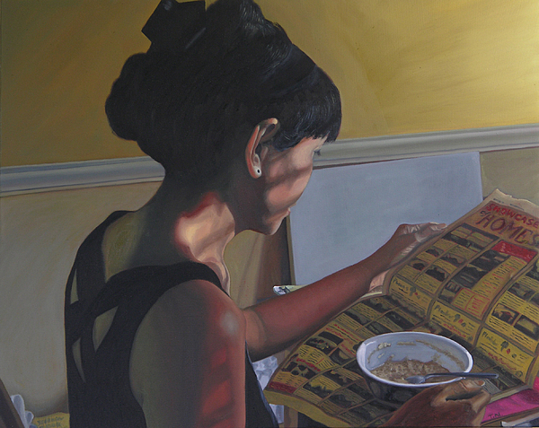Women Reading Newspaper Painting - Spring Morning Cabot Arkansas by Thu Nguyen