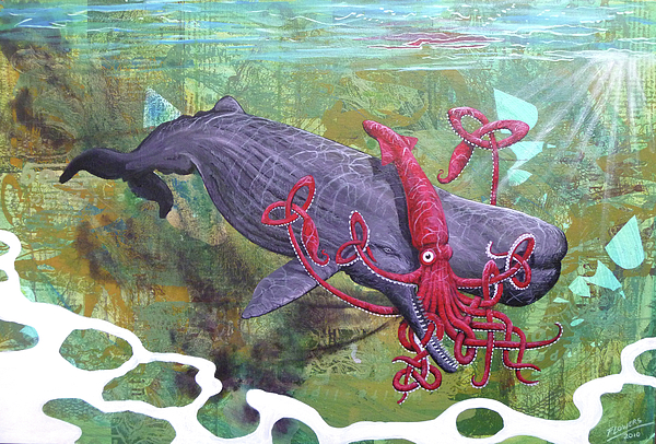 Squid Vs Whale Painting by Bill Flowers