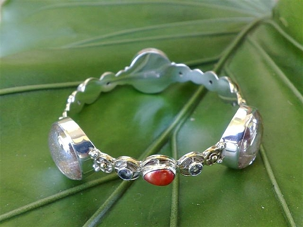 Sterling Silver Earring Jewelry - Ss Bangle With Ice Clear Glass Gem Marbles  by fmnjewel - Fernando Situmeang