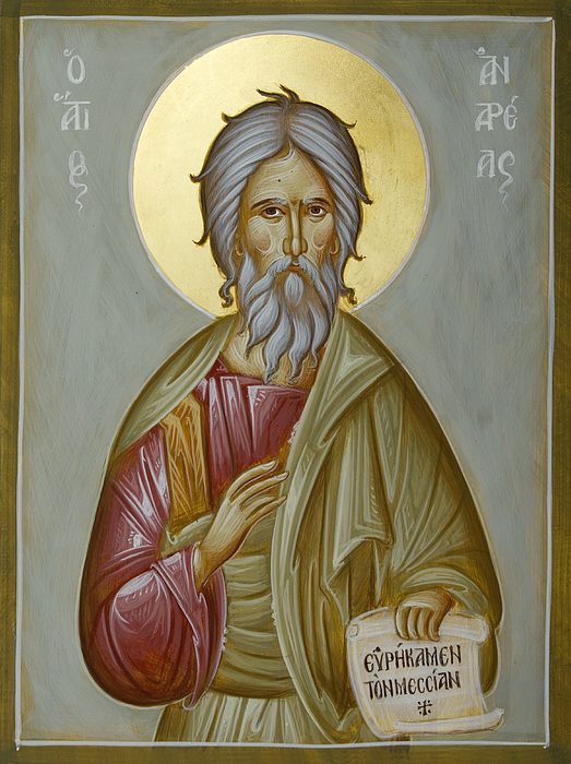 Icon Painting - St Andrew The Apostle And First-called by Julia Bridget Hayes