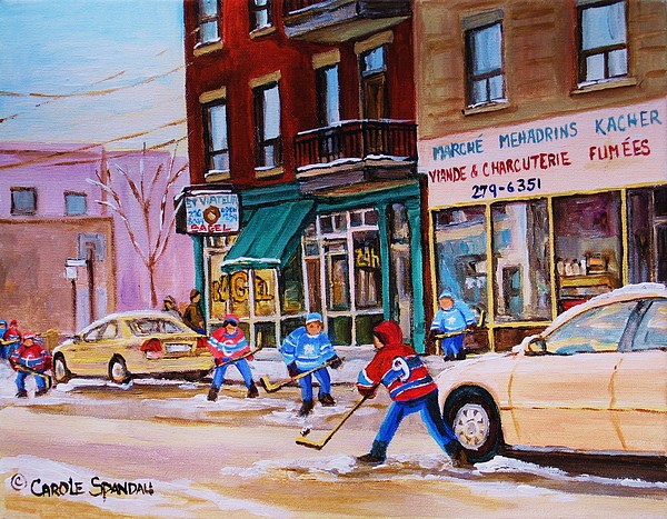 Montreal Painting - St. Viateur Bagel With Boys Playing Hockey by Carole Spandau