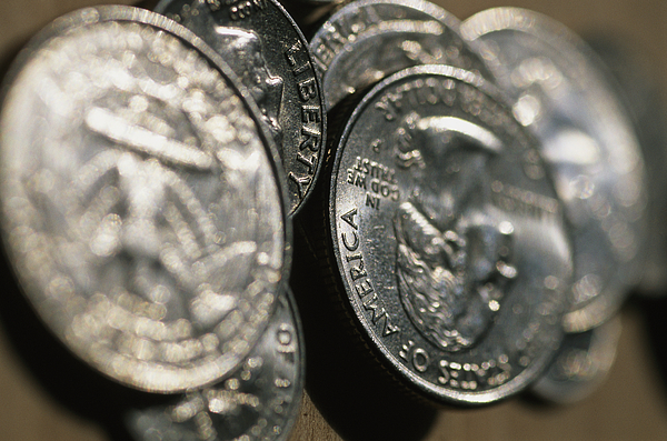 Money Photograph - Stacks Of Quarters Stand Askew by Stephen Alvarez