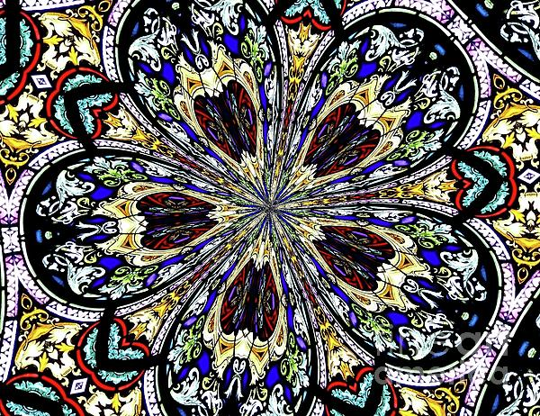 Stained Glass Window Photograph - Stained Glass Kaleidoscope 38 by Rose Santuci-Sofranko