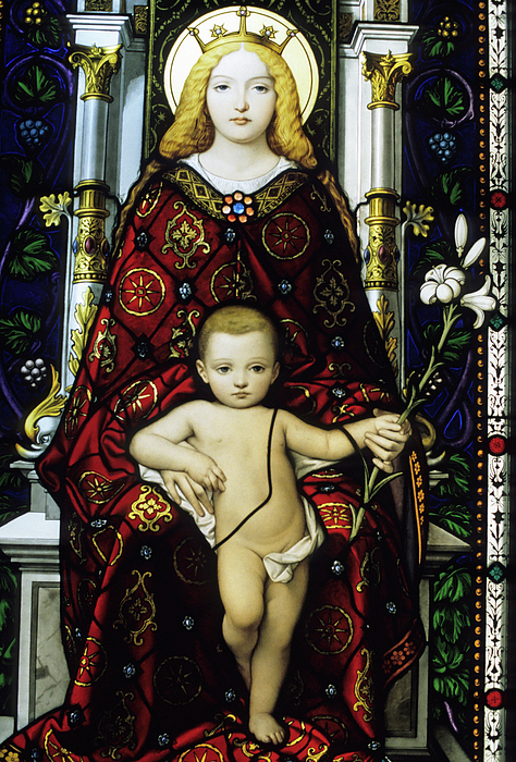Art Photograph - Stained Glass Window Of The Madonna And Child by Sami Sarkis