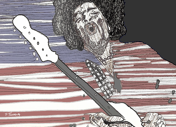 Hendrix Drawing - Star Spangled Banner by David Fossaceca