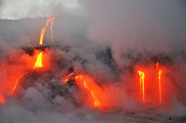 Beauty In Nature Photograph - Steam Rising Off Lava Flowing Into Ocean by  Sami Sarkis