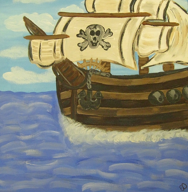 Pirates Painting - Steves Spooky Ship by Eva  Dunham