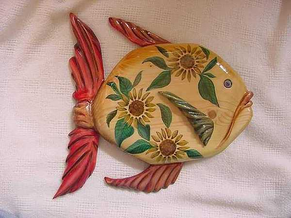Hand Carved Wood Fish Relief - Sun Flowers Fish-sold by Lisa Ruggiero