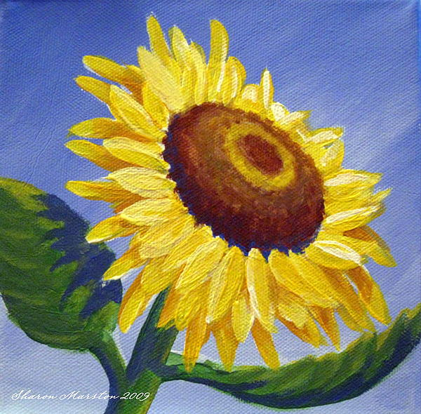 Sunflower Painting - Sunflower Skies by Sharon Marcella Marston