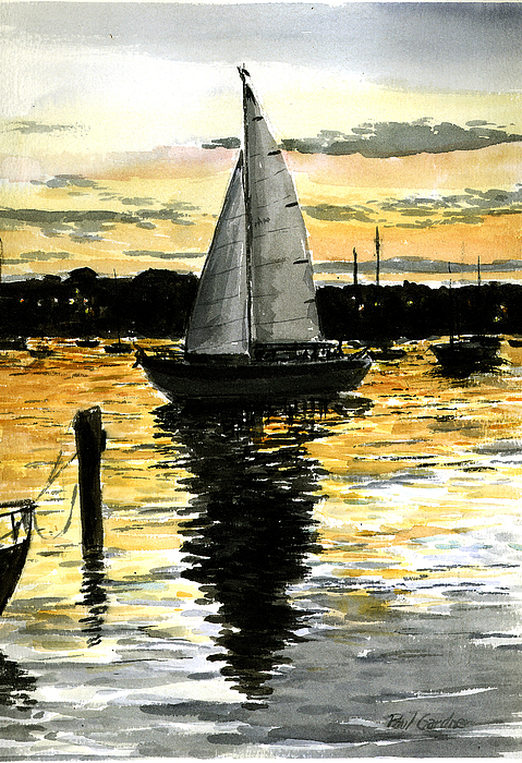 Sunset Marthas Vineyard Cape Cod Sailing Ocean New England Oak Bluffs  Painting - Sunset Ride by Paul Gardner