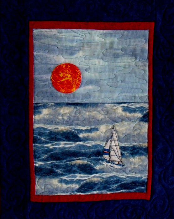 Sunset Tapestry - Textile - Sunset Sail by Maureen Wartski
