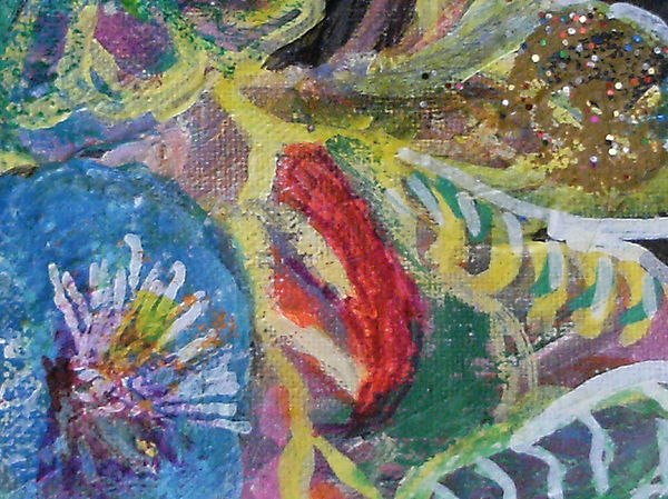 Blue Mixed Media - Sweet Closeview Of Floral Delights by Anne-Elizabeth Whiteway
