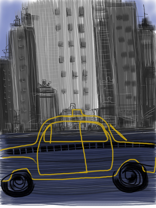 Taxi Print by Russell Pierce