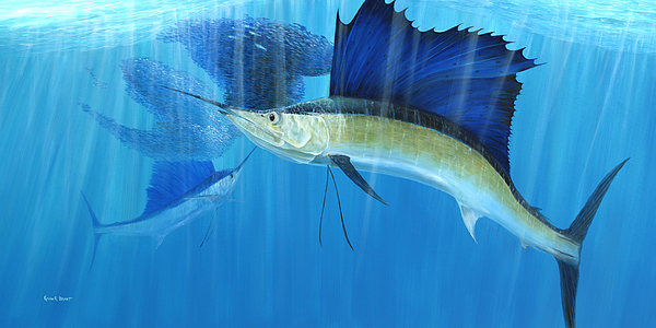 Kevin Brant Painting - Teamwork Sailfish by Kevin Brant