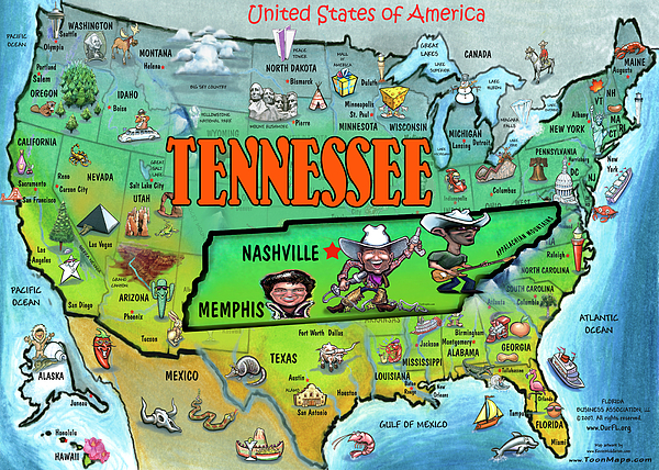 Tennessee Usa Cartoon Map Painting By Kevin Middleton