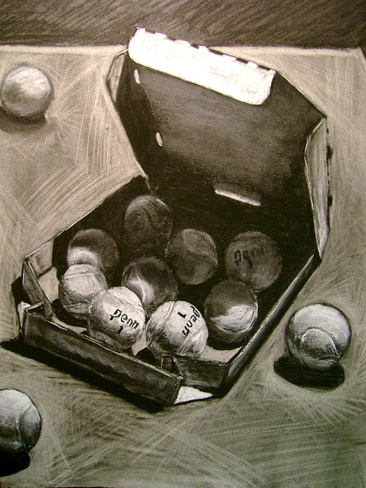 Charcoal Drawing - Tennis Balls In A Pizza Box Precisely by Nils Beasley