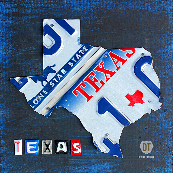 Texas License Plate Map Mixed Media