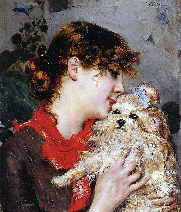 The Actress Rejane And Her Dog Painting - The Actress Rejane And Her Dog by Giovanni Boldini