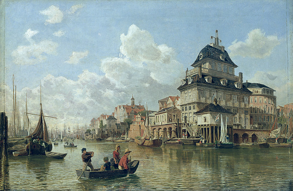 The Boat House At Hamburg Harbour Painting